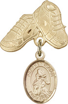 14K Gold Filled Baby Badge with St. Isaiah Charm and Baby Boots Pin 1 X 5/8 inch - $102.90