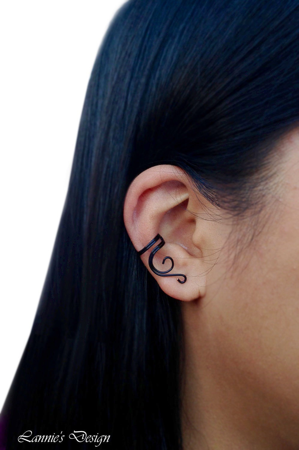 Black Vine Ear Cuff, Cartilage No Piercing Earrings
