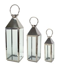 "Pack of 3 Silver Metal and Glass Lanterns 19.5""-34"" - $186.99"