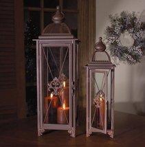Set of 2 Rust Colored Fleur de Lis Sophisticated Pillar Candle Holder Lanterns - $85.95