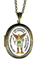 Archangel St Gabriel Messages From God Xl Solid Perfume Locket Pendant G... - $29.95