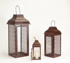 Melrose 31013131 Set of 3 Brown Modern Style Mesh Pillar Candle Holder Lanter... - $95.75
