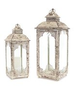 "Set of 2 Cream and Antique Rustic Lantern with Glass 22"" - $98.88"