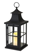 Pack of 3 Asian Inspired Black Lanterns with Flameless LED Pillar Candle... - $87.99