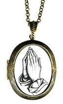 "Praying Hands Huge 2 1/2"" Locket Pendant Gold Bronze - $24.95"