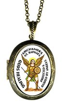 Archangel St Raphael Gods Healing Xl Solid Perfume Locket Pendant Gold B... - $29.95