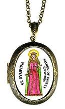 "St Dymphna Patron of Incest Victims Huge 2 1/2"" Locket Pendant Gold Bronze - $24.95"