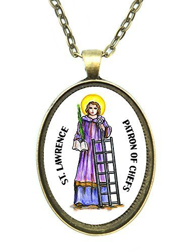 Saint Lawrence Patron of Chefs Huge 30x40mm Handmade Antique Bronze Gold Pendant