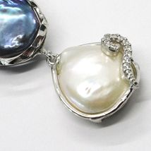 925 ARGENT STERLING,TROIS PERLES STYLE BAROQUE,NOIR,ROSE,ZIRCONIA,MADE IN ITALY image 3