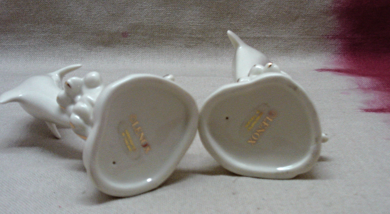 Two Vintage LENOX Ivory & Gold PORCELAIN Dolphin/Porpoise Figurines