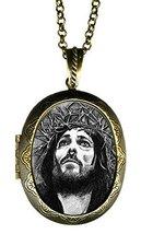 "Jesus Christ Crucifixion Huge 2 1/2"" Locket Pendant Gold Bronze - $24.95"