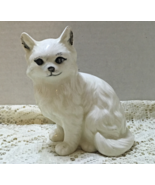 Vintage Persian Cat White Long Haired Cat Figurine Ceramic Kitty Handpai... - $5.50