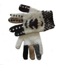 Alpakaandmore Women Finger Gloves Alpaca Wool Knitted (White) [Apparel] - $22.77