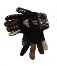 Alpakaandmore Women Finger Gloves Alpaca Wool Knitted (Black) [Apparel] - $22.77