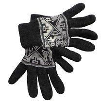 Alpakaandmore Women Douple Knitted Gloves Alpaca Wool One Size (Black) [... - $38.61