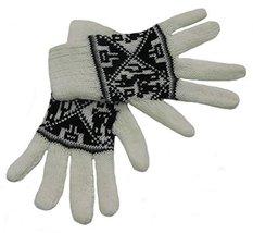 Alpakaandmore Women Douple Knitted Gloves Alpaca Wool One Size (White) [... - $38.61