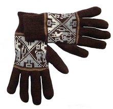 Alpakaandmore Women Douple Knitted Gloves Alpaca Wool One Size (Brown) [... - $38.61
