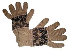Alpakaandmore Women Douple Knitted Gloves Alpaca Wool One Size (Light Br... - $38.61