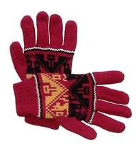 Alpakaandmore Women Douple Knitted Gloves Alpaca Wool One Size (Red) [Ap... - $38.61