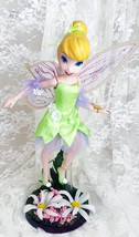 "Porcelain Tinker Bell Figurine with Garden Stand 11"" tall 14"" with stand No Box - $83.00"