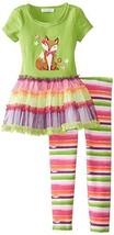 Bonnie Jean Little Girls 2T-6X Fox Appliqued Green Legging Set (4T, Green)