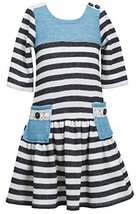 Bonnie Jean Tween Big Girls' Striped French Terry Pocket Dress (10, Black)