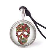Vietsbay's Colorful Sugar Skull Necklace Pendants Pewter Silver - $8.99