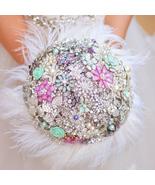 Purple Mint green brooch bouquet wedding bridal ostrich feather bouquets... - $230.00