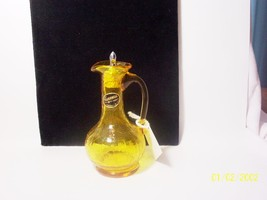 Kanawha Glass Yellow Crackle Glass Cruet - $19.80