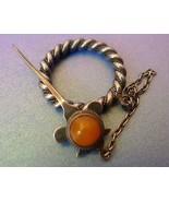 Latvia Riga Vintage Jewelry Orange Baltic Amber gem SILVER 875 BROOCH PI... - $118.00