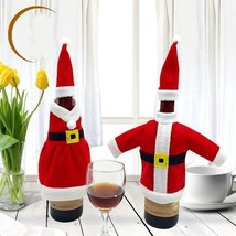 Xmas Santa Claus Red Wine Bottle Cover Wrap Christmas Party Table Dinner... - $99,16 MXN