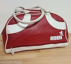 Vintage Disney Mickey Mouse Vinyl Bowler Duffle Tote Bag Red and White Vegan - $75.73