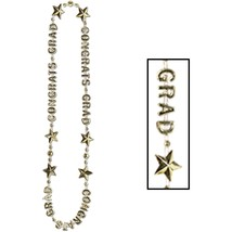 "Beistle Congrats Grad Beads-Of-Expression 36"" - Gold - $4.64"