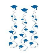 "Blue graduation hat Hanging Swirls 3 dizzy danglers grad cap whirls 30"" ... - $7.87"