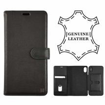 London Genuine Leather Case for Apple iPhone Xr- Black  Folio Wallet 2 In 1 - $18.69