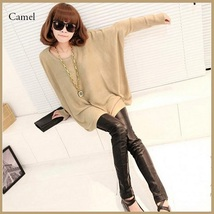 Many Colors Oversized Comfy Pull Over Knitted Long Tunic Batwing Sleeved Sweater image 1