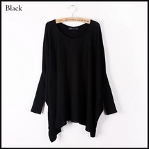 Many Colors Oversized Comfy Pull Over Knitted Long Tunic Batwing Sleeved Sweater image 2