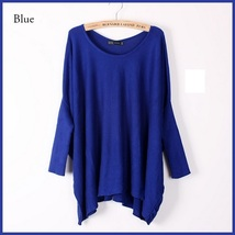 Many Colors Oversized Comfy Pull Over Knitted Long Tunic Batwing Sleeved Sweater image 3
