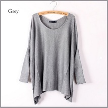 Many Colors Oversized Comfy Pull Over Knitted Long Tunic Batwing Sleeved Sweater image 4