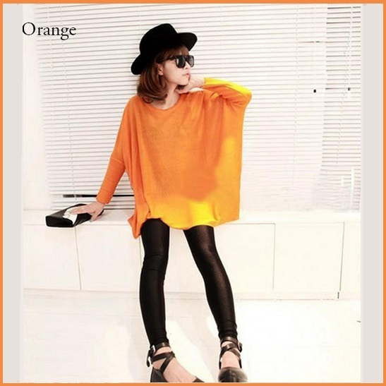 Many Colors Oversized Comfy Pull Over Knitted Long Tunic Batwing Sleeved Sweater