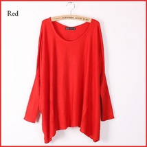 Many Colors Oversized Comfy Pull Over Knitted Long Tunic Batwing Sleeved Sweater image 6