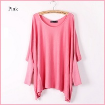 Many Colors Oversized Comfy Pull Over Knitted Long Tunic Batwing Sleeved Sweater image 7