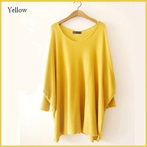 Many Colors Oversized Comfy Pull Over Knitted Long Tunic Batwing Sleeved Sweater image 8