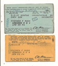1954 Motor Vehicle Registration Chevrolet Sedan  & Driver's License Penn... - $2.99