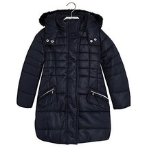 Mayoral Little Girls Quilted Long Coat with Removable Hood, 013-Navy, 4