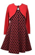 Girls Plus Red/Black Jacquard Dot Knit Fit Flare Dress/Jacket Set, Bonnie Jea...