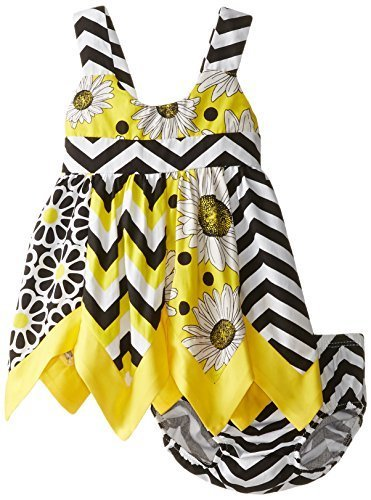 Baby-Girls Infant Mix Print Panel Asymmetric Hanky Hem Dress (12 Months, Yellow)
