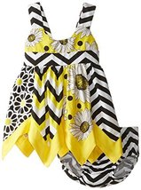 Baby-Girls Infant Mix Print Panel Asymmetric Hanky Hem Dress (18 Months, Yellow)