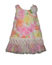 Baby Girls Pink Multi Floral Bonaz and Lace Border Shift Dress, R1-BBNI-RST16...