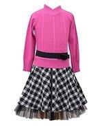 Little Girls Cable Knit Intarsia to Checker Drop Waist Dress, W3-TDLG-WIN15, ... - $36.53